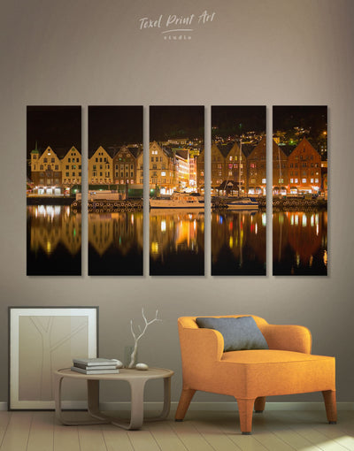 5 Pieces Bergen Norway Wall Art Canvas Print - 5 panels bedroom Brown City Skyline Wall Art Cityscape