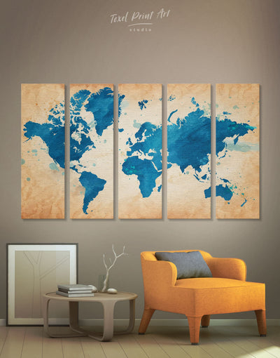 5 Pieces Blue Rustic World Map Wall Art Canvas Print - 5 panels Abstract map bedroom blue Blue Abstract Wall art