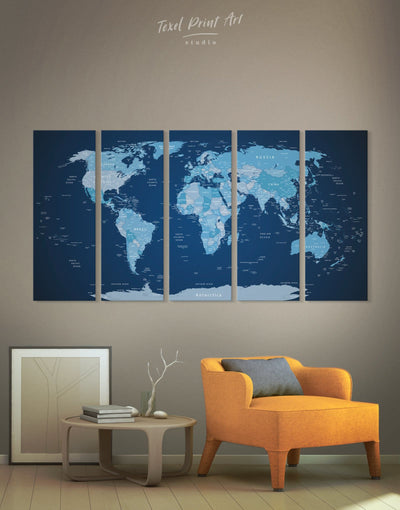5 Pieces Blue World Map Wall Art Canvas Print - 5 panels bedroom Blue corkboard Hallway