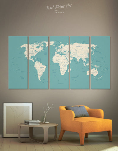 5 Pieces Blue World Push Pin Map Wall Art Canvas Print - 5 panels bedroom Blue blue and white Blue wall art for living room