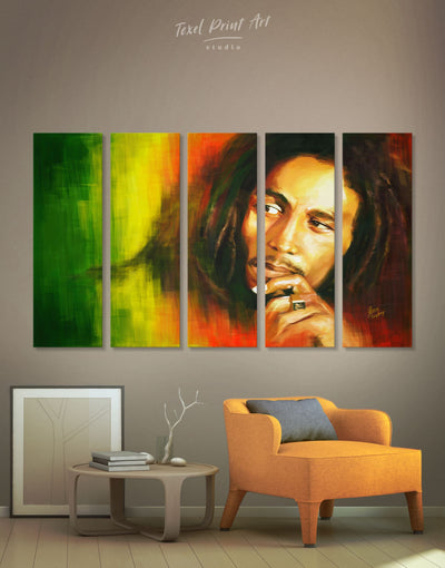 5 Pieces Bob Marley Wall Art Canvas Print - 5 panels bachelor pad bedroom Hallway Living Room