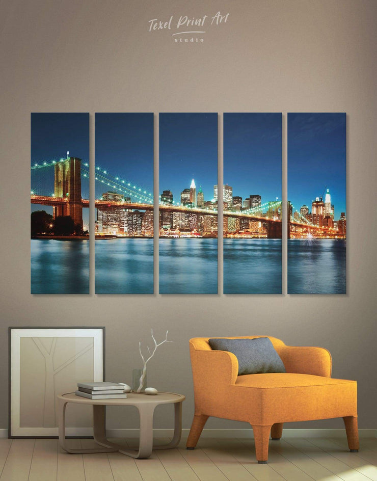 5 Pieces New York Cityscape Wall Art Canvas Print - 5 panels bedroom Blue Blue wall art for living room Bridge