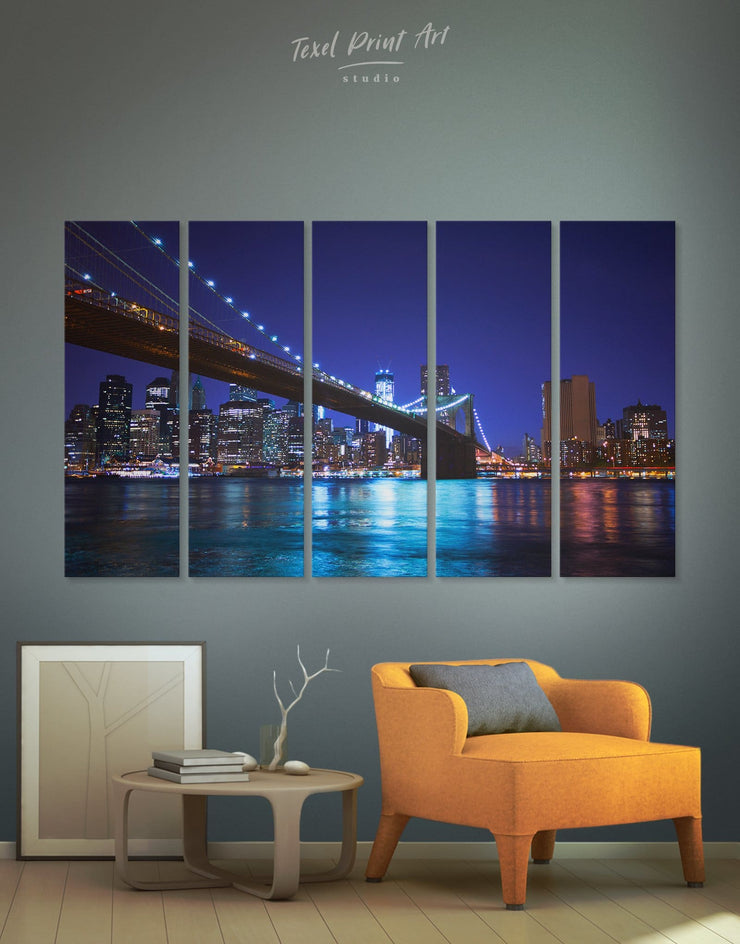 5 Pieces Brooklyn Bridge in New York Wall Art Canvas Print - 5 panels bedroom Blue blue wall art for bedroom Blue wall art for living room