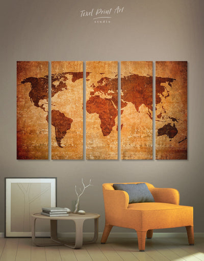 5 Pieces Brown Modern Map Wall Art Canvas Print - 5 panels Abstract Abstract map bedroom Brown