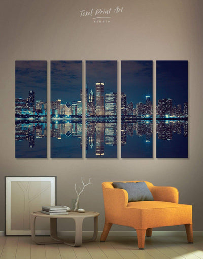 5 Pieces Chicago Skyline at Night Wall Art Canvas Print - Canvas Wall Art 5 panels bedroom City Skyline Wall Art Cityscape Hallway