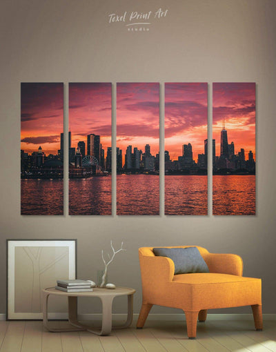 5 Pieces Chicago Skyline at Night Wall Art Canvas Print - Canvas Wall Art 5 panels bedroom City Skyline Wall Art Cityscape Dining room