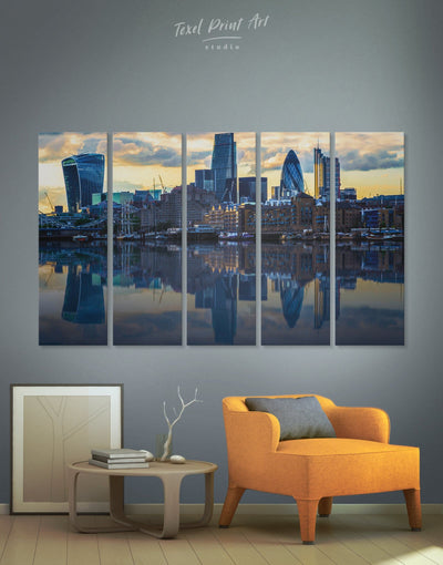 5 Pieces City of London Wall Art Canvas Print - 5 panels bedroom blue City Skyline Wall Art Cityscape