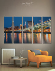 5 Pieces Cleveland Skyline Wall Art Canvas Print