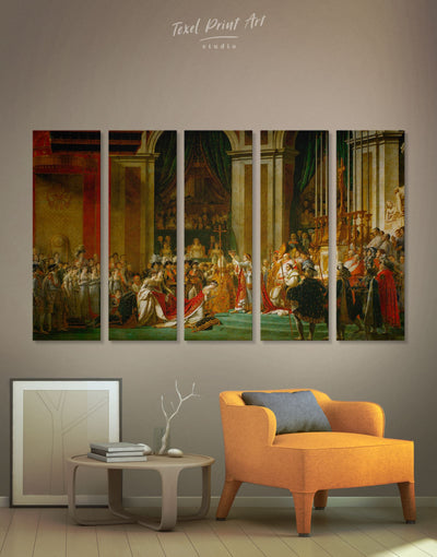 5 Pieces Coronation of Napoleon by Jacques-Louis David Wall Art Canvas Print - 5 panels bedroom Hallway Library Living Room