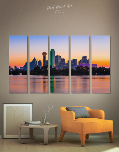 5 Pieces Dallas Skyline Wall Art Canvas - Canvas Wall Art 5 panels bedroom City Skyline Wall Art Cityscape dallas wall art
