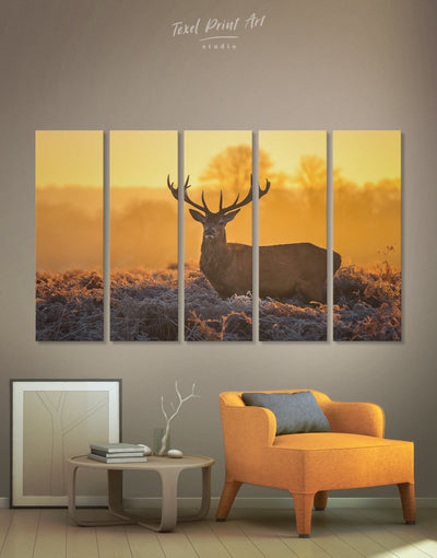 5 Pieces Deer Wall Art Canvas Print - 5 panels Animal bedroom deer wall art Living Room