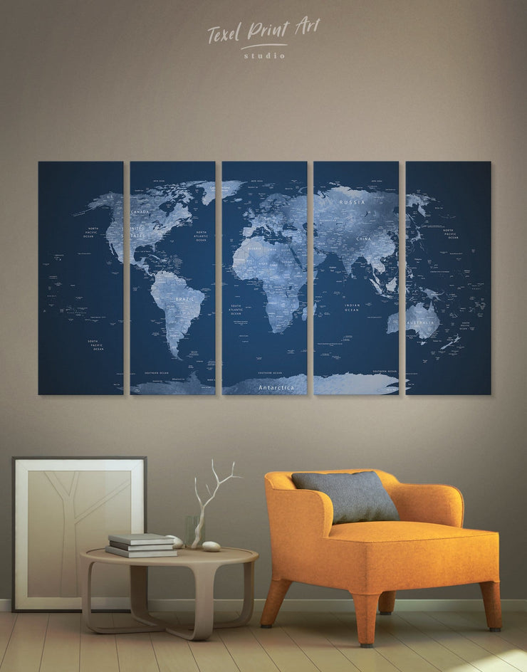 5 Pieces Detailed Blue World Map Wall Art Canvas Print - 5 panels bedroom Blue Blue wall art for living room contemporary wall art