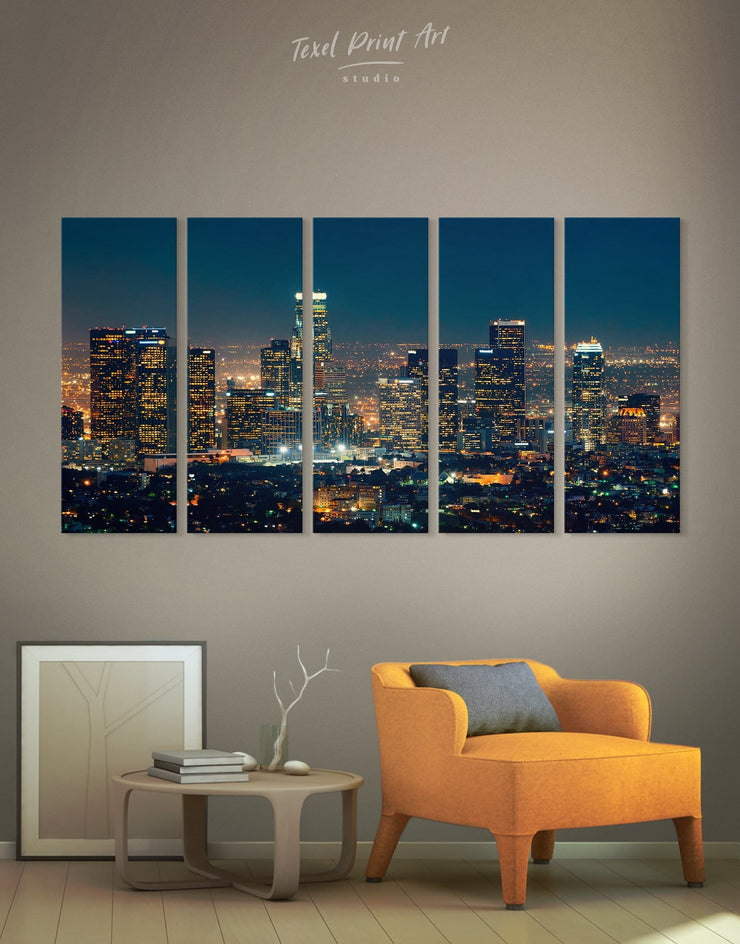 5 Pieces Downtown Los Angeles Wall Art Canvas - Canvas Wall Art 5 panels bedroom City Skyline Wall Art Cityscape Hallway