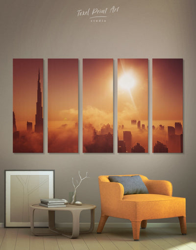5 Pieces Dubai Wall Art Canvas Print - 5 panels bedroom City Skyline Wall Art Cityscape Dubai
