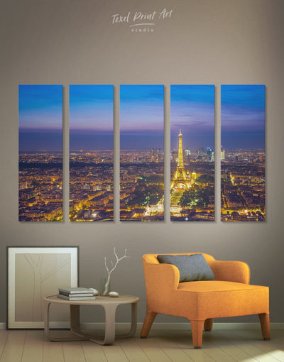 5 Pieces Eiffel Tower Paris Wall Art Canvas Print - 5 panels bedroom eiffel tower wall art french wall art Living Room