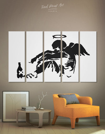 5 Pieces Fallen Angel by Banksy Wall Art Canvas Print - 5 panels Banksy Banksy wall art bedroom Black