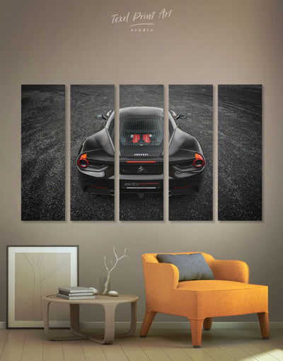 5 Pieces Ferrari 488 GTB Sports Car Wall Art Canvas Print - 5 panels bachelor pad black car garage wall art
