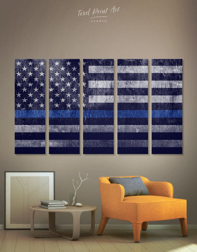 5 Pieces Flag Of The USA Wall Art Canvas Print - Canvas Wall Art 5 panels American flag Blue Blue wall art for living room flag wall art
