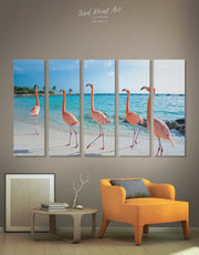 5 Pieces Flamingo and Beach Wall Art Canvas Print