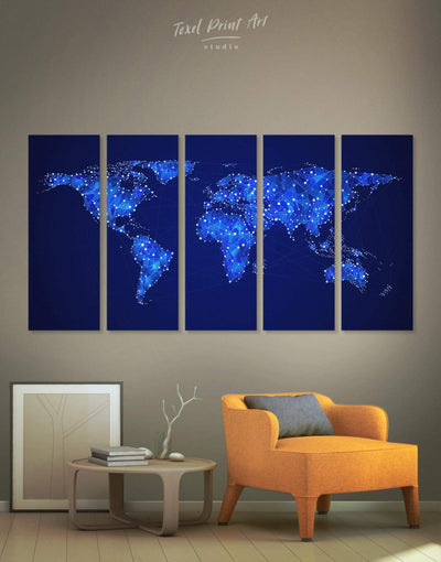 5 Pieces Geometric Map Wall Art Canvas Print - 5 panels Abstract map Blue Blue Abstract Wall art geometric world map