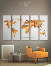 5 Pieces Gold World Map Wall Art Canvas Print