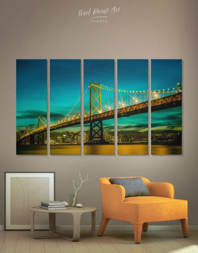 5 Pieces Golden Gate Wall Art Canvas Print - 5 panels blue Bridge Golden Gate bridge wall art green