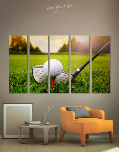 5 Pieces Golf Ball Wall Art Canvas Print - 5 panels bachelor pad bedroom Green Hallway