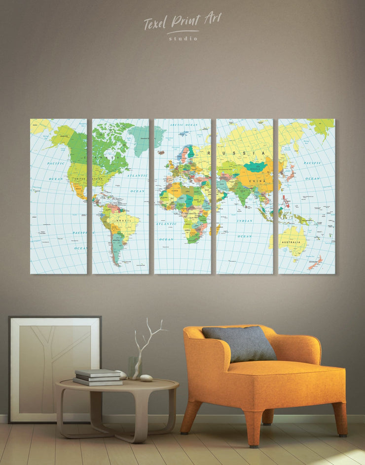 5 Pieces Green World Map Wall Art Canvas Print - 5 panels Blue blue and green wall art Living Room Office Wall Art