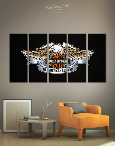 5 Pieces Harley Motorcycle Logo Wall Art Canvas Print - Canvas Wall Art 5 panels bachelor pad black Hallway Living Room