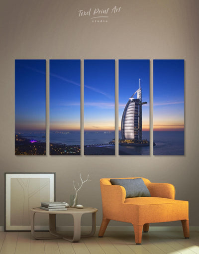 5 Pieces High Burj Al Arab Jumeirah Hotel Wall Art Canvas Print - Canvas Wall Art 5 panels bedroom City Skyline Wall Art Cityscape Hallway