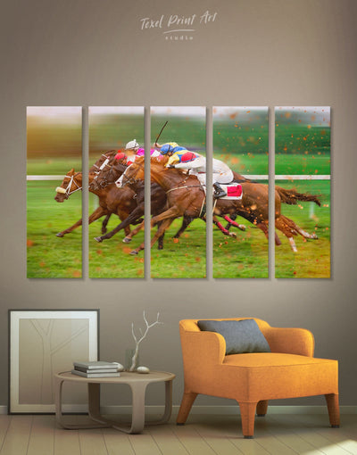 5 Pieces Horse Racing Wall Art Canvas Print - Canvas Wall Art 5 panels bachelor pad Hallway horse wall art inspirational wall art