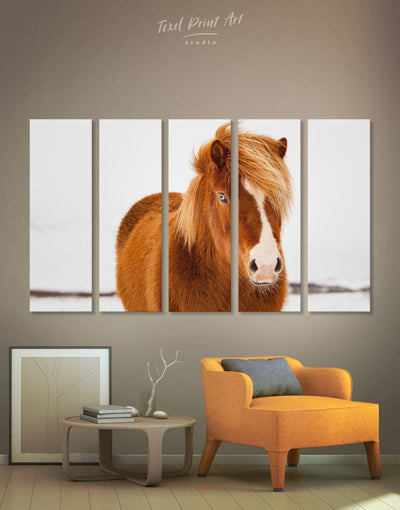 5 Pieces Icelandic Horse Wall Art Canvas Print - 5 panels Animal Animals bedroom brown