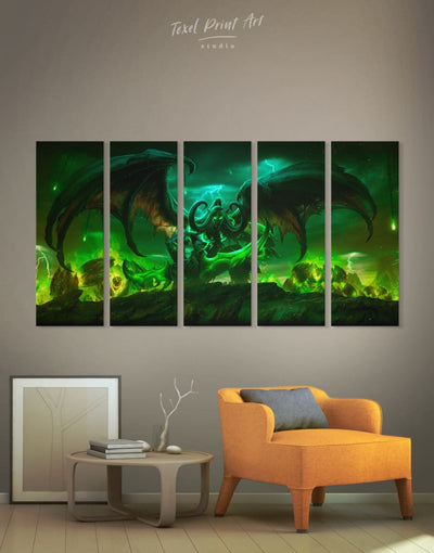 5 Pieces Illidan Stormrage Wall Art Canvas Print - 5 panels bachelor pad bedroom game room game room wall art