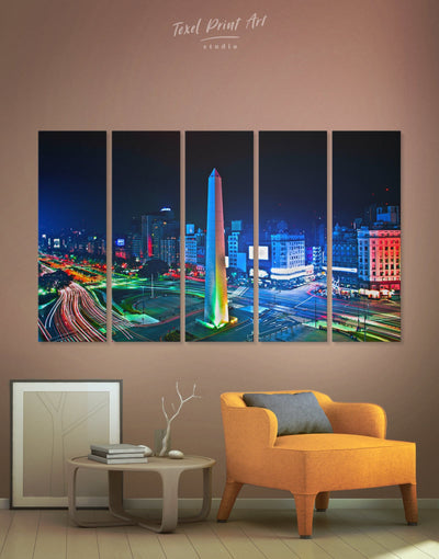 5 Pieces July 9 Avenue Wall Art Canvas Print - 5 panels bedroom Blue City Skyline Wall Art Cityscape