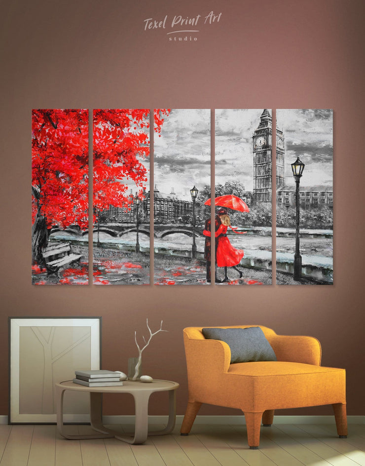 5 Pieces Kissing Couple Wall Art Canvas Print - 5 panels bedroom Living Room london wall art love wall art