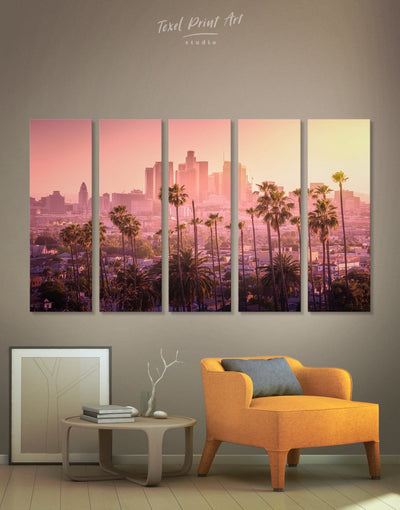 5 Pieces LA Skyline Canvas Wall Art - Canvas Wall Art 5 panels bedroom City Skyline Wall Art Cityscape florida wall art