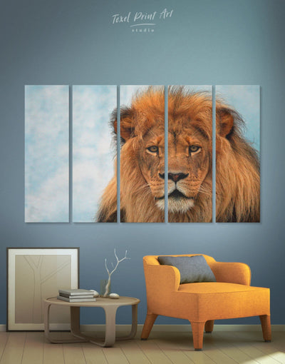 5 Pieces Lion Portrait Wall Art Canvas Print - 5 panels Animal Animals Hallway lion wall art