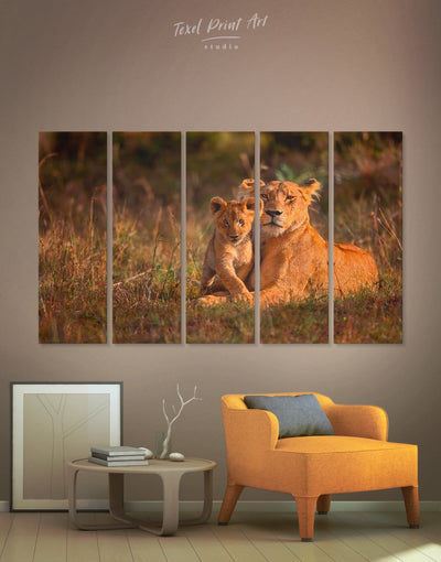 5 Pieces Lioness Wall Art Canvas Print - 5 panels Animal Animals lion wall art Nature