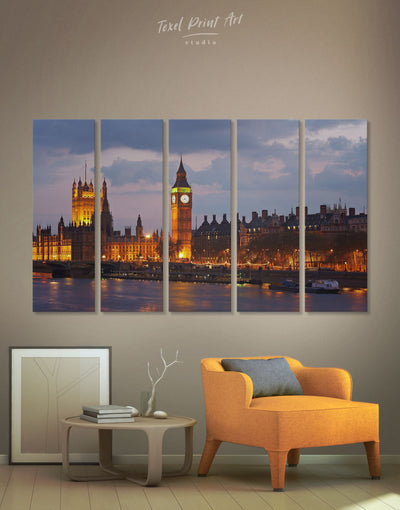 5 Pieces London Cityscape Wall Art Canvas Print - 5 panels bedroom City Skyline Wall Art Cityscape Living Room