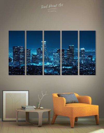 5 Pieces Los Angeles Skyline Wall Art Canvas Print - Canvas Wall Art 5 panels bedroom City Skyline Wall Art Cityscape Hallway