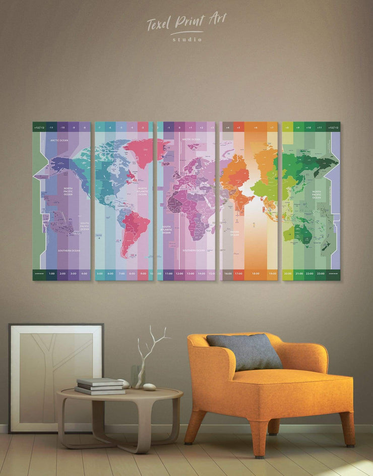 5 Pieces Map With Time Zones Wall Art Canvas Print - 5 panels Abstract Abstract map Contemporary Green