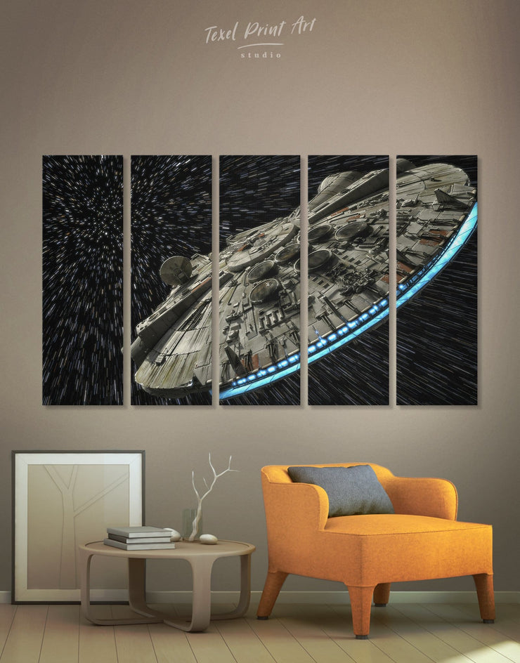 5 Pieces Millennium Falcon Wall Art Canvas Print - 5 panels bedroom black and grey wall art Hallway Kitchen