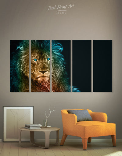5 Pieces Minimalistic Lion Image Wall Art Canvas Print - 5 panels Animal Animals bedroom Black