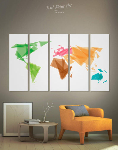 5 Pieces Minimalistic World Map Wall Art Canvas Print - 5 panels Abstract Abstract map bedroom brown