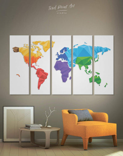 5 Pieces Minimalistic World Map Wall Art Canvas Print - 5 panels Abstract map geometric world map Living Room minimalist wall art