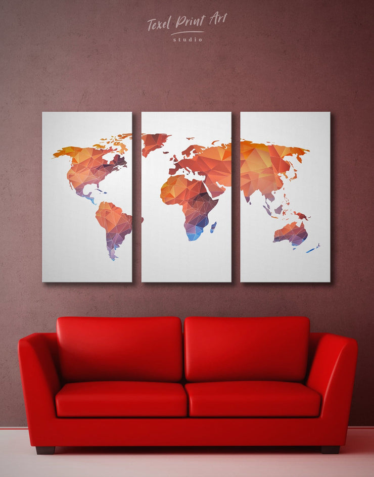 5 Pieces Modern Map Of The World Wall Art Canvas Print - 5 panels Abstract map corkboard geometric world map Living Room