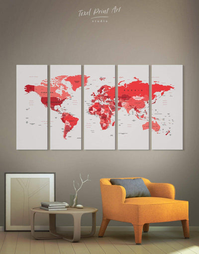 5 Pieces Modern Map With Pins Wall Art Canvas Print - 5 panels Living Room Office Wall Art Pushpin Travel Map red