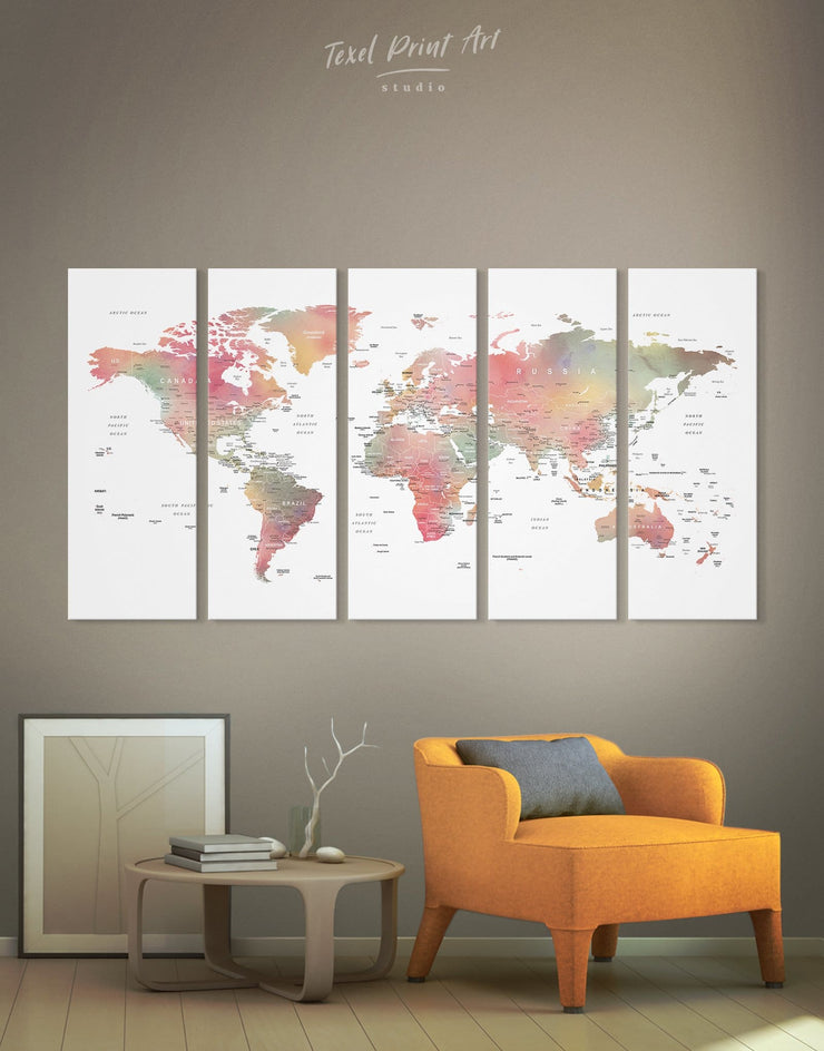 5 Pieces Modern Travel World Map with Pins to Push Wall Art Canvas Print - 5 panels bedroom contemporary wall art map of the world labeled