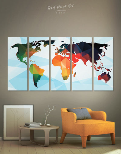 5 Pieces Modern World Map Wall Art Canvas Print - 5 panels Abstract map blue corkboard geometric world map