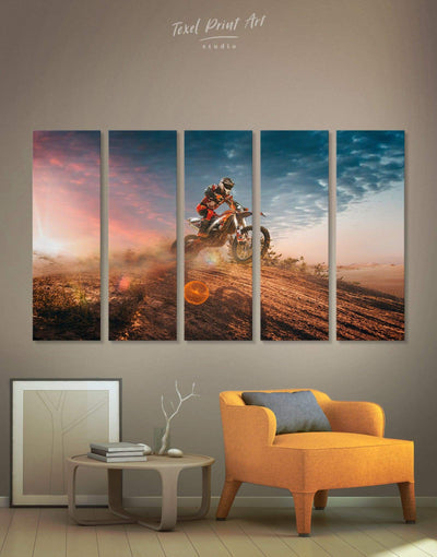 5 Pieces Motocross Wall Art Canvas Print - Canvas Wall Art 5 panels bachelor pad Hallway Living Room manly wall art